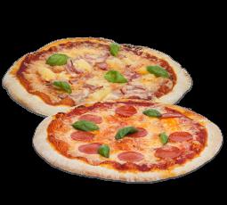 Pizza tvennu tilboð, pepperoni og hawaii (á að breyta)